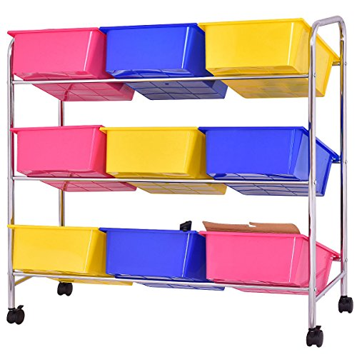 KCHEX>Toy Bin Cart Rack Organizer Kids Childrens Storage Box Playroom Bedroom Shelf>This is Our 9 Plastic Drawer Rolling cart, which is of and Brand New. Thanks to its Colorful Plastic by KCHEX (Image #2)