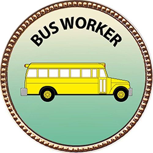 Bus Worker Award, 1 inch dia Gold Pin