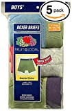 Fruit of the Loom 5Pack Boys Assorted ComfortSoft Boxer Briefs Underwear L