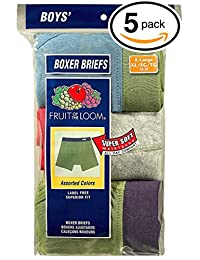 Fruit of the Loom 5Pack Boys Covered Waistband Boxer Briefs Underwear S