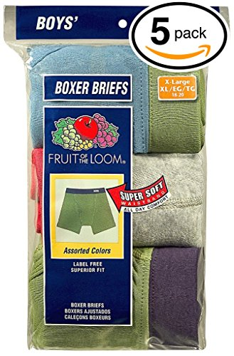 Fruit of the Loom 5Pack Boys Covered Waistband Boxer Briefs Underwear 2T3T