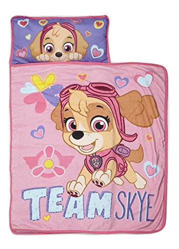 Paw Patrol Team Skye Nap Mat Set - Includes Pillow and Fleece Blanket - Great for Boys and Girls Napping at Daycare, Preschool, or Kindergarten - Fits Sleeping Toddlers and Young Children -