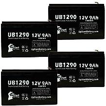 4x Pack - APC SMART-UPS XL 1400VA RM 3U SU1400RMXL3U Battery - Replacement UB1290 Universal Sealed Lead Acid Battery (12V, 9Ah, 9000mAh, F1 Terminal, AGM, SLA) - Includes 8 F1 to F2 Terminal Adapters