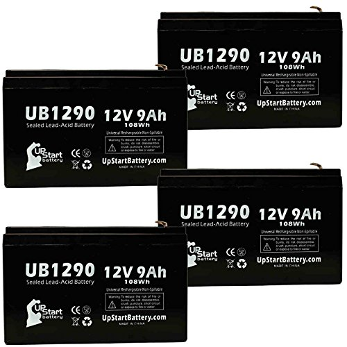 (4 Pack - UB1290 Universal Sealed Lead Acid Battery Replacement (12V, 9Ah, 9000mAh, F1 Terminal, AGM, SLA) - Includes 8 F1 to F2 Terminal Adapters & Also Replaces CYBERPOWER CP1500AVRLCD)