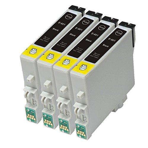 4 Black Remanufactured Inkjet Cartridges for T060 #60 T060120 T060220 T060320 T060420 Compatible With Stylus C68, C88, C88Plus, CX3800, CX3810, CX4200, CX4800, CX5800F, - Remanufactured Inkjet Printer