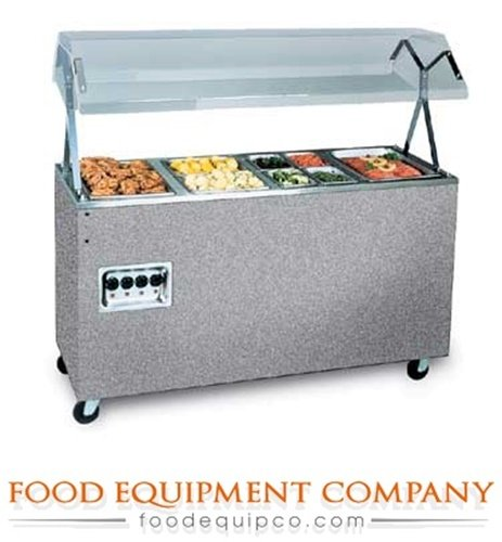 Station Hot Food, 4 Well, Open With Lights, Walnut Woodgrain, 60 X 35 Inch - 1 Per Case