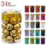 KI Store 34ct Christmas Ball Ornaments 1.57' Small Shatterproof Christmas Decorations Tree Balls for Holiday Wedding Party Decoration, Tree Ornaments Hooks Included (40mm Gold)