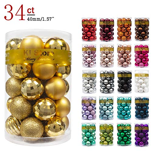 KI Store 34ct Christmas Ball Ornaments 157quot Small Shatterproof Christmas Decorations Tree Balls for Holiday Wedding Party Decoration Tree Ornaments Hooks Included 40mm Gold