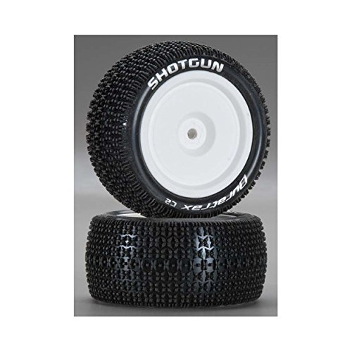 (Duratrax Shotgun 1:10 Scale RC 4WD Buggy Tires with Foam Inserts, C2 Soft Compound, Mounted on Rear White Wheels, Fits The Team Associated B44 (Set of 2))