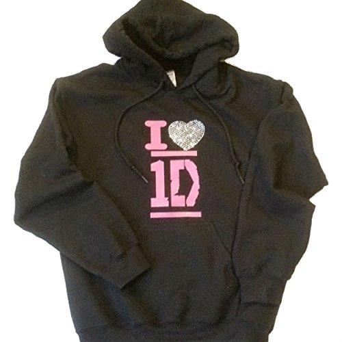 Womens, Girls, Youth I Love 1D One Direction Premium Rhinestone Sweatshirt, Hoodie, T Shirt, Jacket (Adult XX Large, Black Hoodie)