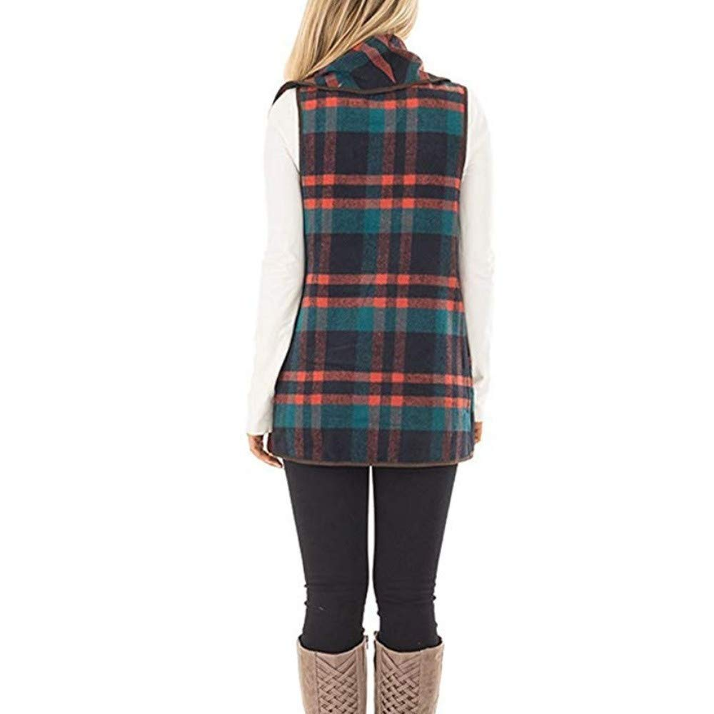 Sleeveless Blouse Plaid Shirts Ruffles Collar Outwear Lattic Vest Chic Coat Jacket Womens Tops MISYAA Vests for Women