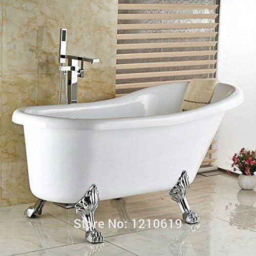 ZY-YY 蛇口新浴室のシャワー浴槽の蛇口のw/ハンドヘルドシャワークローム現代のバスタブ蛇口のミキサーのタップ床立ち、マルチ