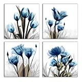 """Flower Canvas Prints Wall Art Decor 4 Panels Blue Elegant Tulip Artwork Simple Life Picture for Living Room Bedroom Home Salon SPA Wall Decoration 16"""" x 16"""" 4 Pieces"""