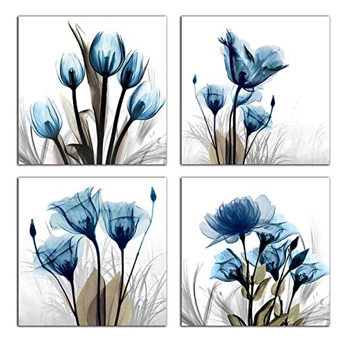 Flower Canvas Prints Wall Art Decor 4 Panels Blue Elegant Tulip Artwork Simple Life Picture for Living Room Bedroom Home Salon SPA Wall Decoration 16