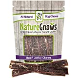 "Nature Gnaws Beef Jerky Chews 9-10"" (20 Pack) - 100% All-Natural Grass-Fed Free-Range Premium Beef Dog Chews"