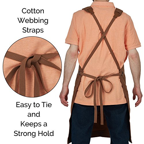 Heavy-Duty Waxed-Canvas Work Apron for Men and Women withPockets for ToolsCross-Back Straps – Adjustable from M to XXL (Brown) by Premium Rhino (Image #5)