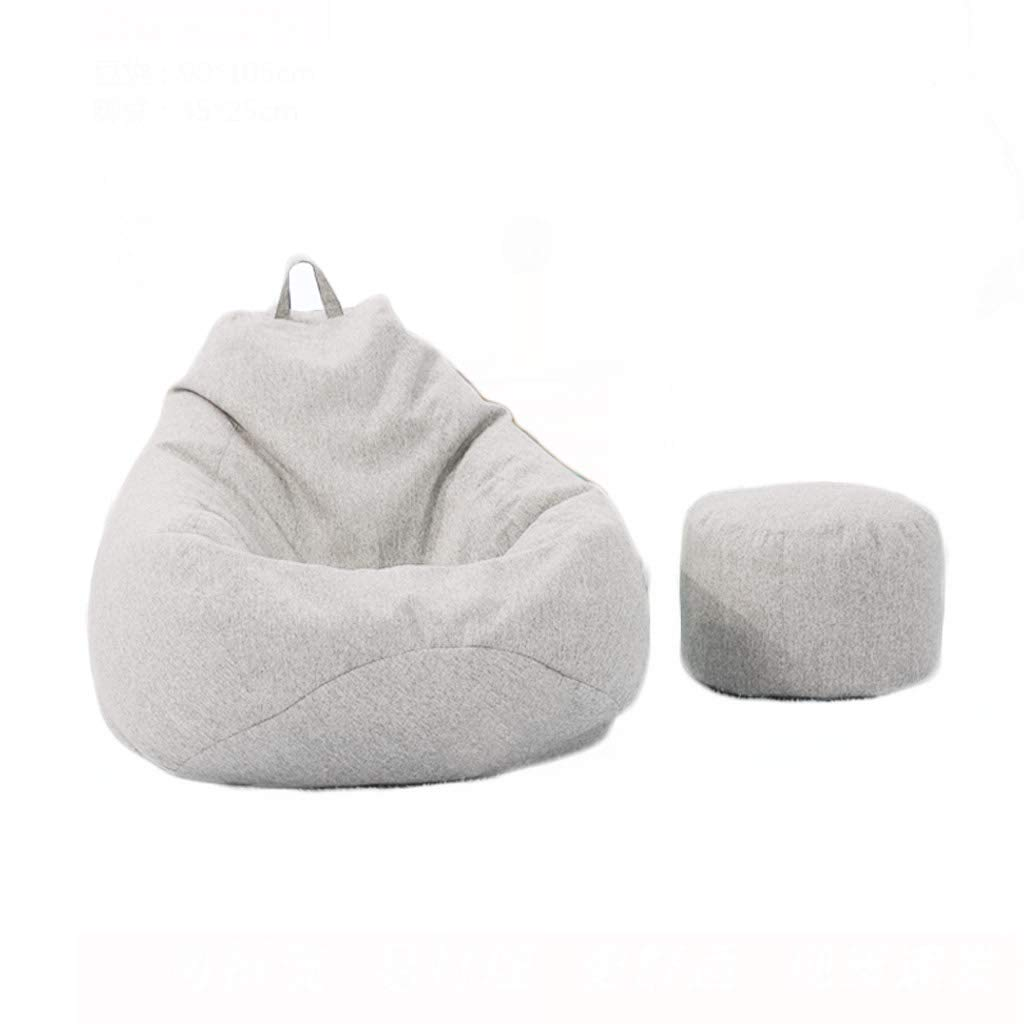 ZLZDZ Footstool and Ottomans Small Bean Bag Sofa Bed, Modern High Back Solid Color Filled Detachable Cleaning Fabric Lazy Sofa, Suitable for Indoor and Outdoor Game Chairs and Garden Chairs, Be by ZLZDZ