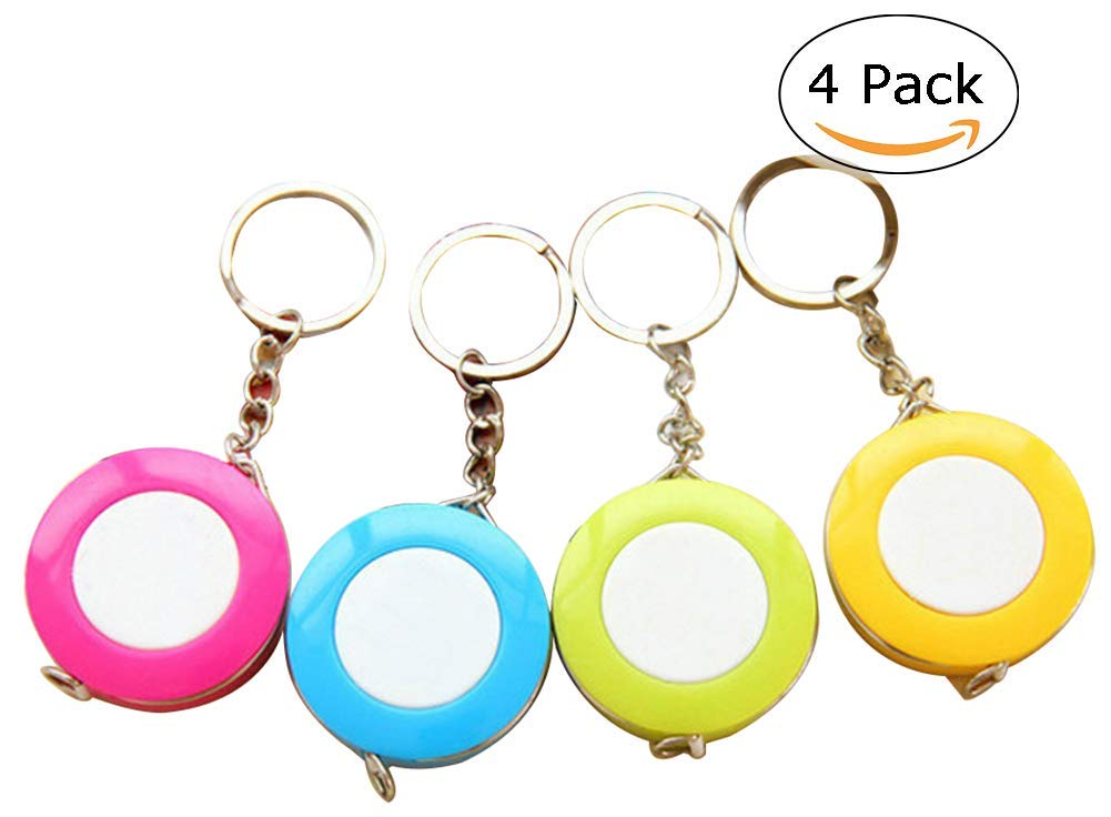 JHere Dual Sided Tape Measure 60-Inch 1.5 Meter Soft and Retractable Tape Measure with Keychain for Tailor Sewing Body Measure Tape - 4 Pack - Blue, Green, Rose, Yellow