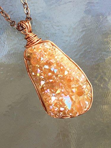 Champagne Quartz Pendant - Champagne Druzy Pendant, Desert Druzy Necklace, Titanium Quartz Crystal, Druzy Geode, Copper Wire Wrapped Druzy Pendant.