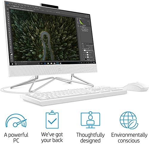 HP Pavilion All-in-One 22-inch Computer, AMD Athlon Gold 3150U, 16GB RAM, 1TB PCIe Solid State Drive, DVD-RW, WiFi, Webcam, HDMI, Online Class Ready, Wired Keyboadr&Mouse, KKE Mousepad, Windows 10