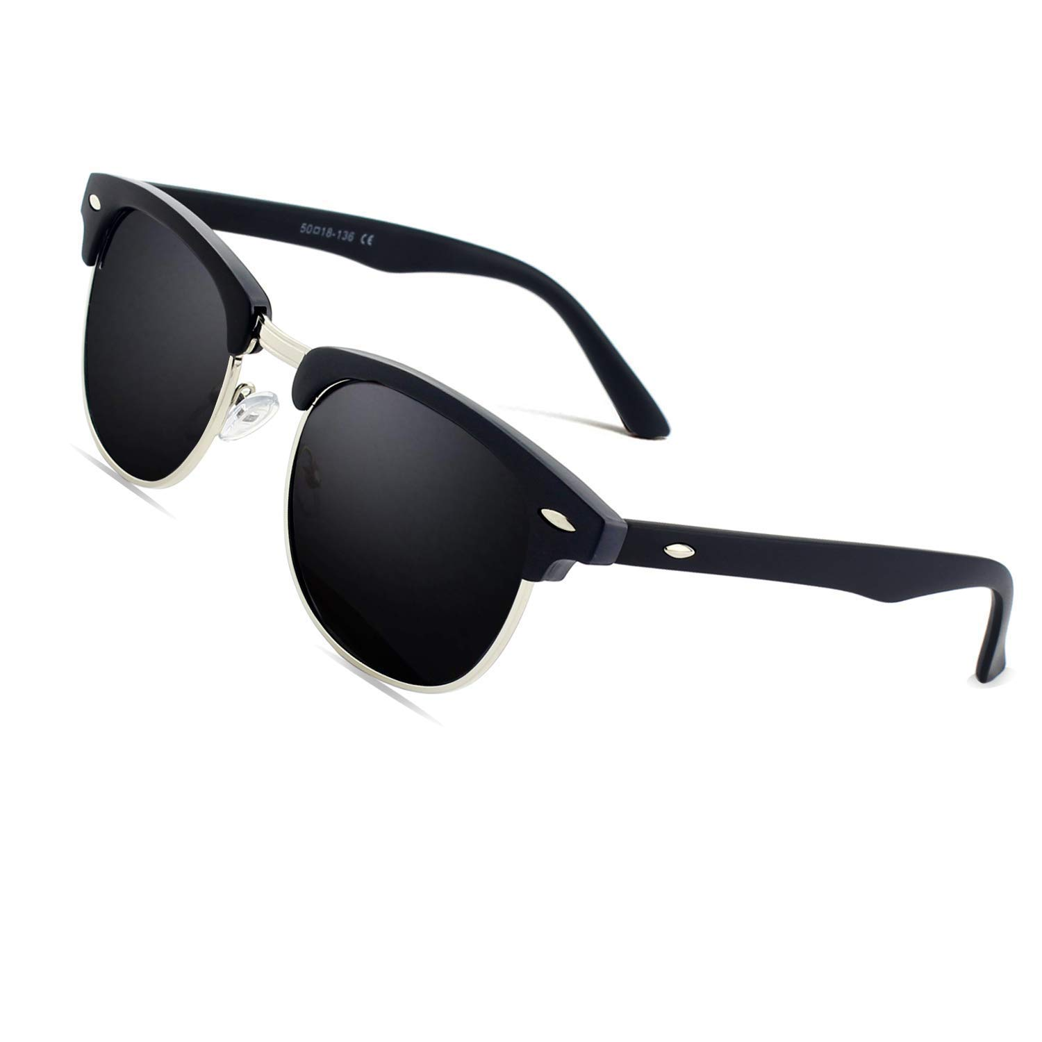 8e77c0b3a CGID MJ56 Premium Inspired Half Frame Polarized Sunglasses with Metal  Rivets,Matte Black-Gray: Amazon.co.uk: Clothing