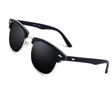 CGID MJ56 clubma Unisex Retro Vintage Sonnenbrille im angesagte 60er Browline-Style mit markantem Halbrahmen Sonnenbrille,Bri