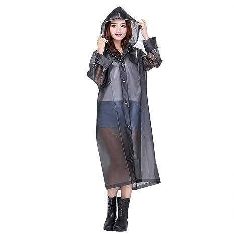 Ponche de lluvia con capucha portátil mujer dama ropa abrigo impermeable grueso translúcido Raincoat en EVA