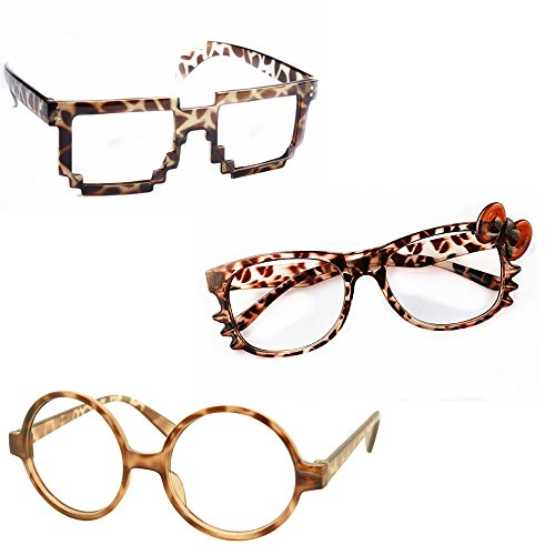 FancyG® Cute Cool Leopard Cheetah Glass Frame Eyewear Set 3 Pieces Costume Cosplay Daily Fashion for Ladies No - Glasses Cheetah