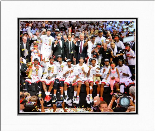Miami Heat 2013 NBA Finals Game 7 Team Celebration Matted Photo 11x14