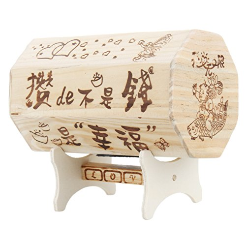 Merssavo Novelty Cute Wooden Octagonal Piggy Bank with Base for Home and Office (Octagonal Base)