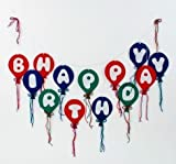 Happy Birthday Felt Balloon Party Banner Decoration, 55 Inches