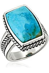 Barse Basics Genuine Turquoise and Sterling Silver Roped Ring