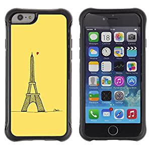WAWU Funda Carcasa Bumper con Absorci??e Impactos y Anti-Ara??s Espalda Slim Rugged Armor -- love yellow Paris Eifel tower tour heart -- Apple Iphone 6