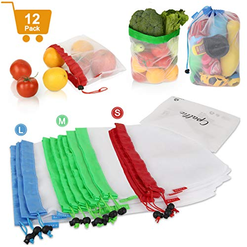 Reusable Produce Bags Washable - Grocery Shopping Bags with Drawstring Lightweight, Cpallie Eco Friendly See Through Mesh Bag Zero Waste Products for Fruits Vegetables 12 Pack 3 Size