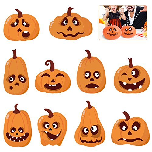 TOYMYTOY Halloween Pumpkin Sticker Halloween Sticker Sheets Trick or Treat Party Decoration DIY Pumpkin Shaped Stickers 20Pcs Face Expression Stickers 40Pcs]()