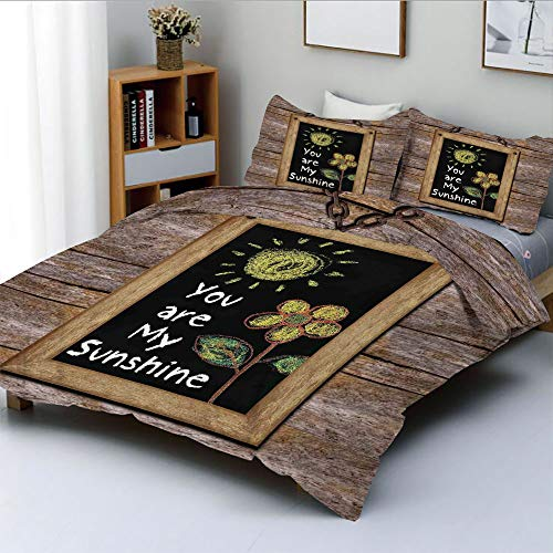 (Duplex Print Duvet Cover Set King Size,Love Phrase with Flower and Hand Drawn Sun Figure on Framed Blackboard Wooden WallDecorative 3 Piece Bedding Set with 2 Pillow Sham,Multi,Best Gift For Kids & Ad)