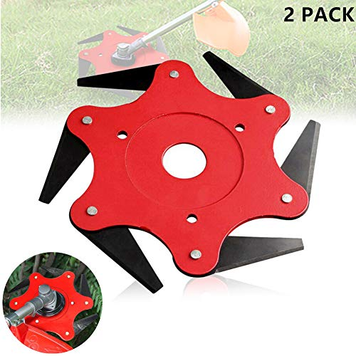 ACGN 6 Teeth Brush Cutter Blade Trimmer Head Cutter New 65mn Manganese Steel Weed Trimmer Cutting Head Solid and Sharp for Lawn Mower Replacement Tool