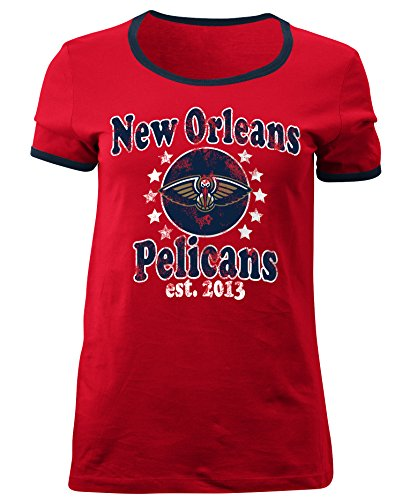 (5th & Ocean NBA New Orleans Pelicans Adult Women Ladies Baby Jersey Short Sleeve Ringer Tee,L,Red)