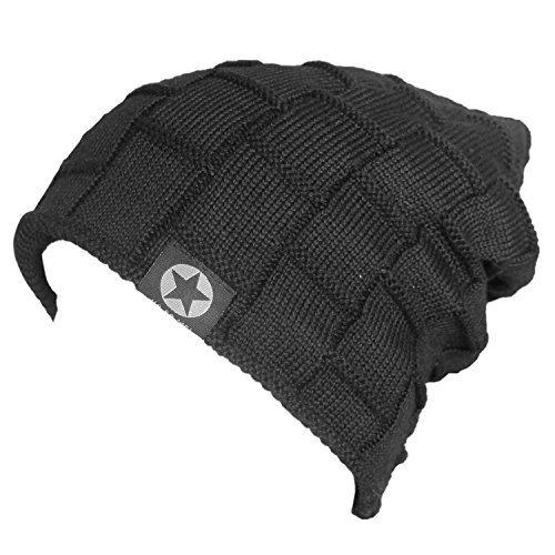 Bodvera Unisex Winter Knit Wool Warm Hat Soft Slouchy Beanie Skully Cap in 3 color, One Size, Black by Bodvera (Image #1)