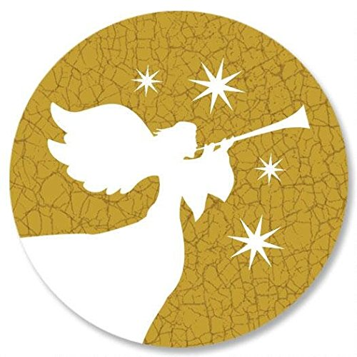 Star Christmas Envelope Seals - Set of 72, Gold Angel Christmas Sticker Seal (Angel Envelope Seals)