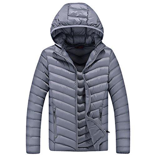 Real Spark(TM) Men Slim Fit Cotton Padded Warm Hooded Zip Up Winter Coats&Jacket Grey L