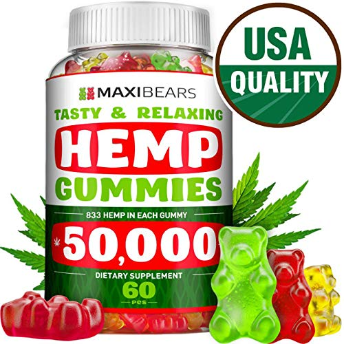 Hemp Gummies - 50,000 MG - 833 MG per Gummy - Stress, Insomnia & Anxiety Relief - Made in USA - Tasty & Relaxing Herbal Gummies