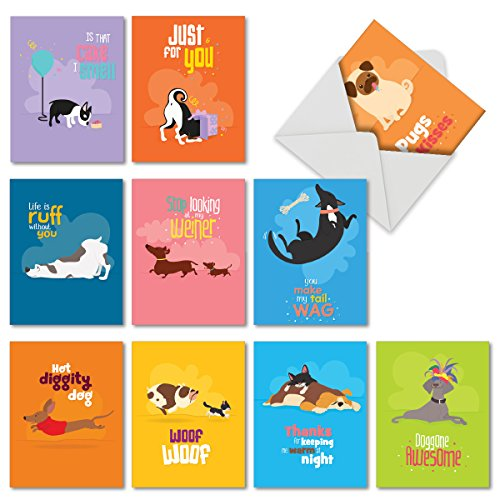 """10 Boxed 'Doggone Awesome Notes' Dog Cards With Envelopes (4"""" x 5 ¼"""") - Adorable Assorted Blank Greeting Cards - All Occasion Animal Stationery Featuring Funny Puppy Quotes -"""