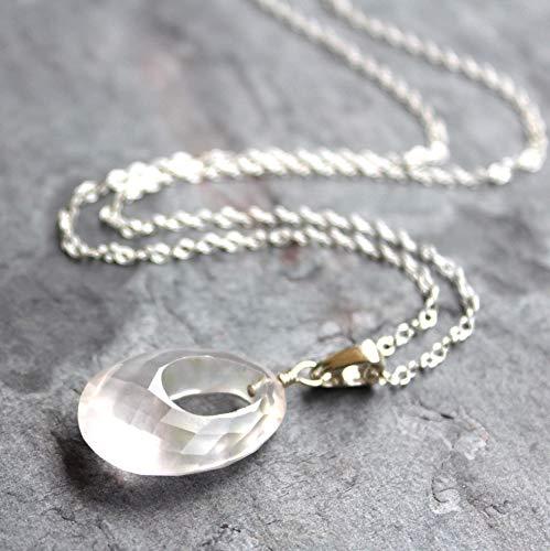 Unique Oval Pendant Rose Quartz Gemstone Necklace Sterling Silver 20 - Oblong Pendant Rose