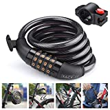 TACKLIFE Bike Lock, HCL1C 4-Feet Resettable Combination Bike Cable Self Coiling Bicycle Cable