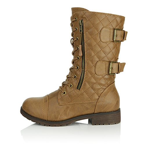 Credit Buckle Up Pu Exclusive Quilted Women's High Pocket Card Knee Combat DailyShoes Lace Mid Boots Quilted Military Tan FS7qg