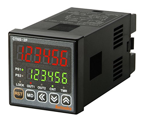 AUTONICS CT6S-2P2 Counter&Timer, 1/16 DIN, 6 Digit LED display, 2 Presets,2 Relay &1 NPN outputs, 24-48 VDC/ 24VAC by Autonics USA, Inc