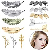 12 Pieces Hair Clips for Women, Tree Branch Alloy Feather Leaf Style Barrettes Hair Pins for Girls Thick Hair Styling Women Wedding Party (Style 3)