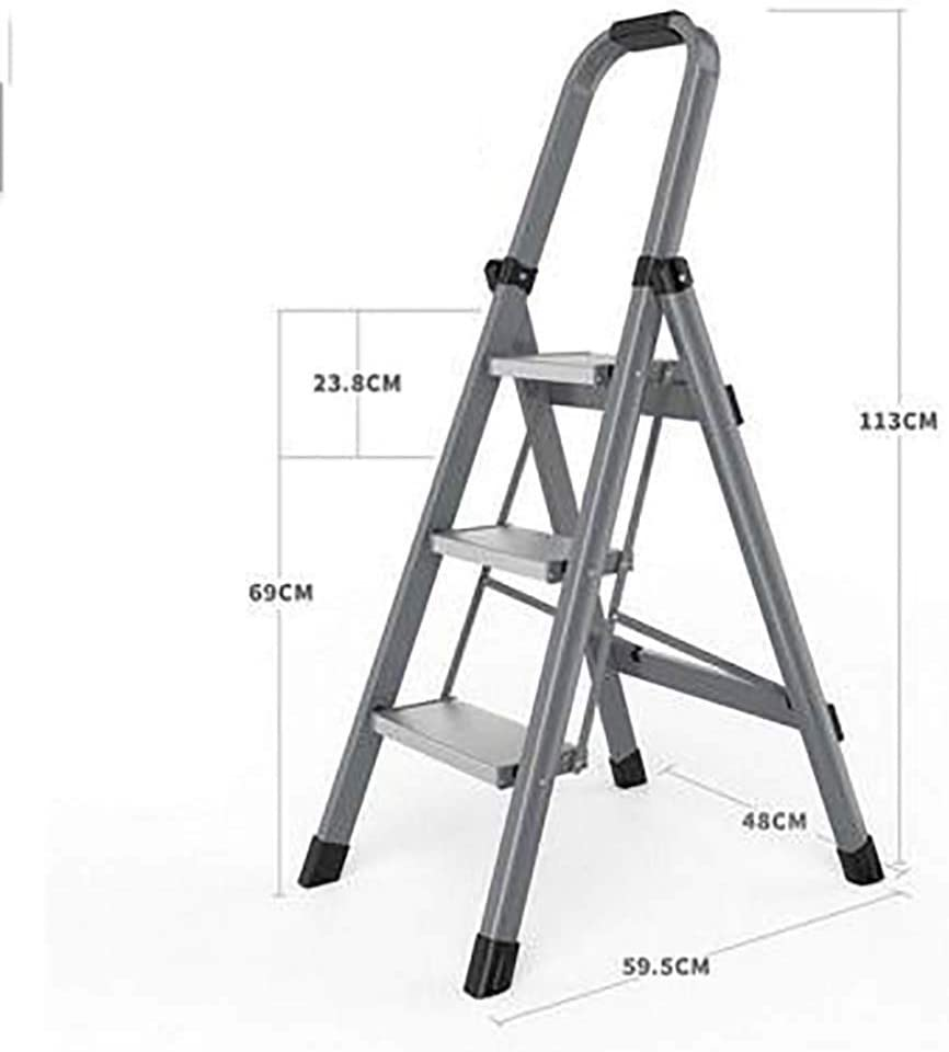 Plegable Antideslizante Escalera,aluminio Aleación Escaleras De Mano Multifunción Portátil Pesada Deber Escalera Para El Hogar-gris3 59.5x48x113cm(23x19x44inch): Amazon.es: Bricolaje y herramientas
