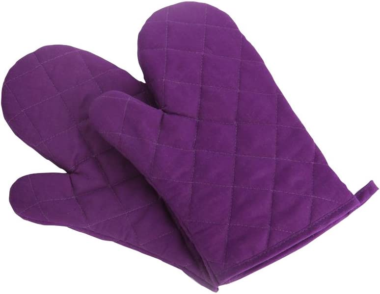 Nachvorn Oven Mitts, Premium Heat Resistant Kitchen Gloves Cotton & Polyester Quilted Oversized Mittens, 1 Pair Purple,New